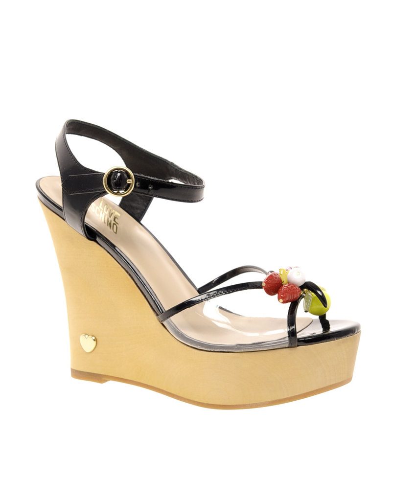 Both futuristic and a little girlie, this whimsical pair will look fantastic with everything from your staple white dresses to cropped denim.  Love Moschino Tutti Frutti Wedge Sandals ($392)
