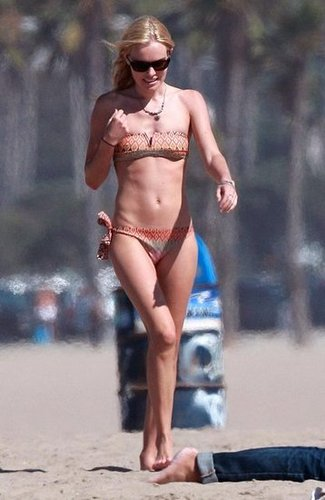 Kate Bosworth hit the beach in a printed bikini while in Malibu in July 2006.