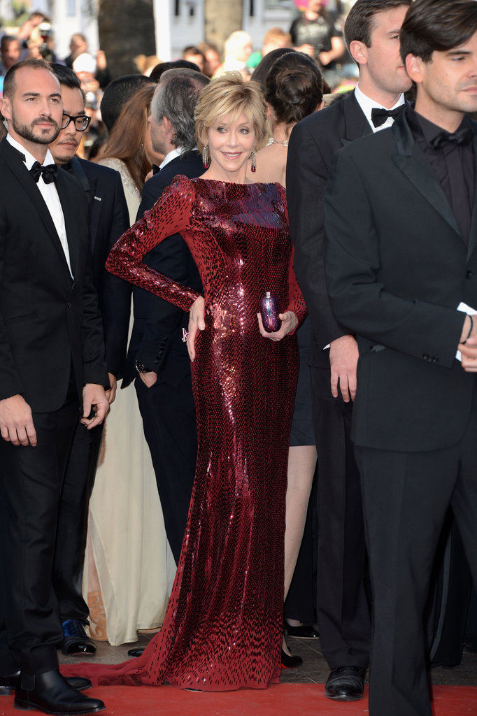Jane Fonda showed off her amazing figure in a long red gown.