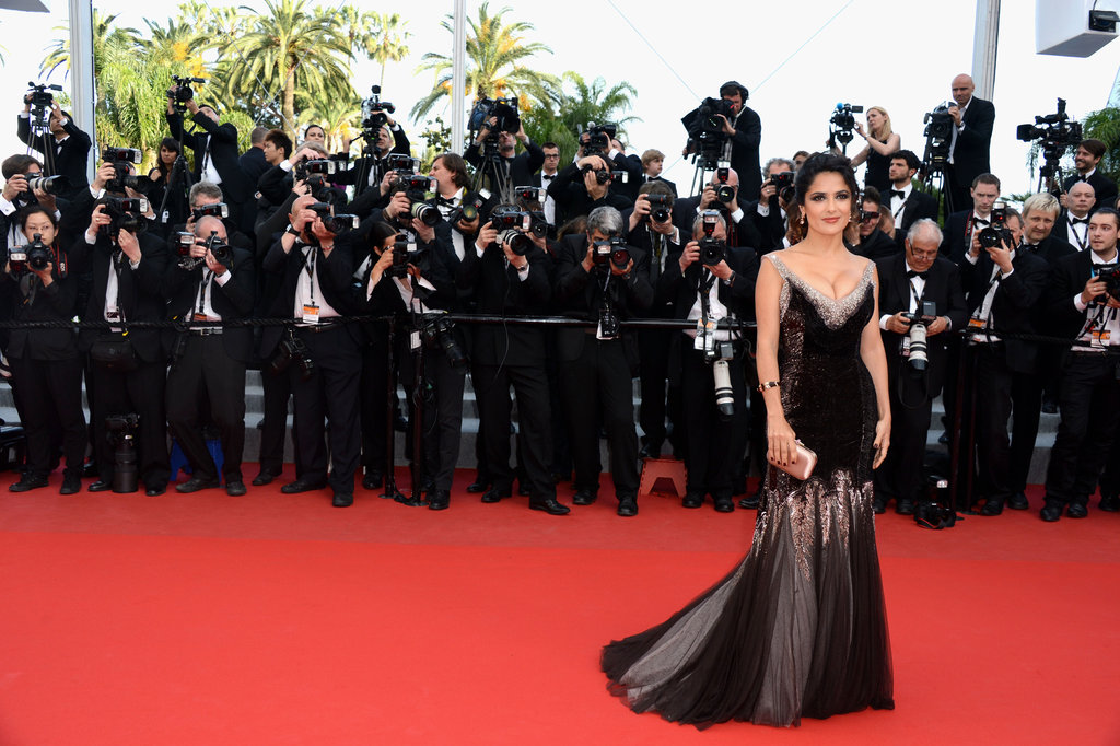 Salma Hayek posed for photographers in Cannes.