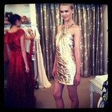 A model showed off the perfect party dress at Rachel Zoe's shopping fete in LA.