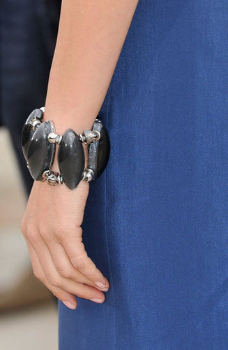 To dress up her casual blue dress look, Petra wore this statement cuff bracelet.