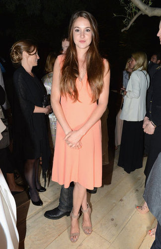 Shailene Woodley looks fresh in a peachy-hued Calvin Klein number and nude-toned sandals at the designer's Women in Film party.