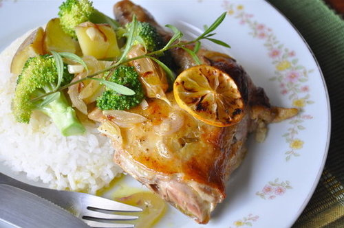 Baked Lemon-Tarragon Chicken with Steamed, Buttered Veggies