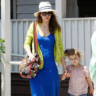 Jessica Alba Blue Maxi Yellow Cardigan