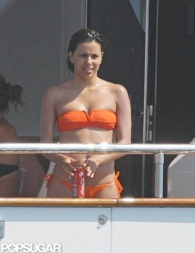 Eva Longoria wore an orange two-piece on a yacht in St.-Tropez in June 2009.