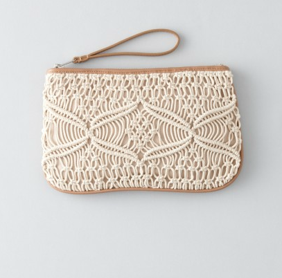 Replace your change purse with this summery upgrade. Stash it in your larger totes, or carry as is (it fits all the essentials!).  Loft Macrame Zip Pouch ($25)