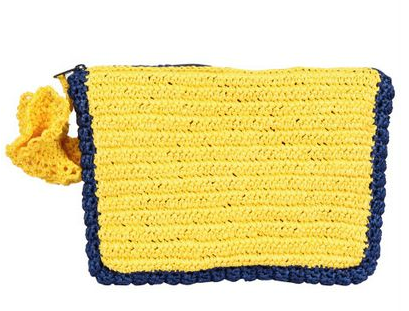 This one's all fun. The bright citrus color and pom-pom have a whimsical seasonal feel.  In3cci Bicolored Raffia With Pom-Pom Clutch ($185)