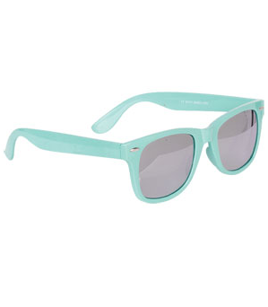 This minty pair capitalizes on one of the season's hottest hues. Delia's Pastel Wayfarer W Mirrored Lens ($10)