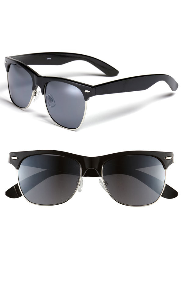 Channel Old Hollywood cool with this pair, which makes the perfect complement for retro-styled sundresses all Summer.  Icon Eyewear Gloria Retro Half Wire Frame Sunglasses ($12)