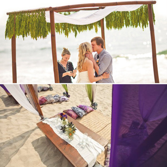 If boho is your preferred aesthetic, but you'd like a beachfront ceremony, this wedding offers great tips. A simple canopy with lush green accents, plus low-slung tables on the beach keep things relaxed but elegant.  Jeff Newsom via Style Me Pretty