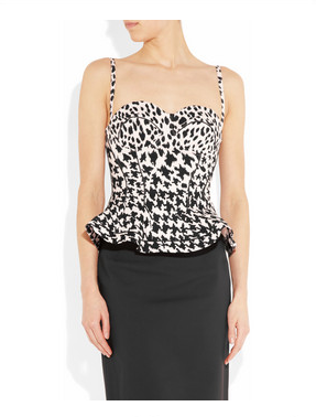 McQ Alexander McQueen Printed Stretch Cotton-Twill Bustier ($830)