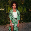Solange Knowles in Green Floral Suit