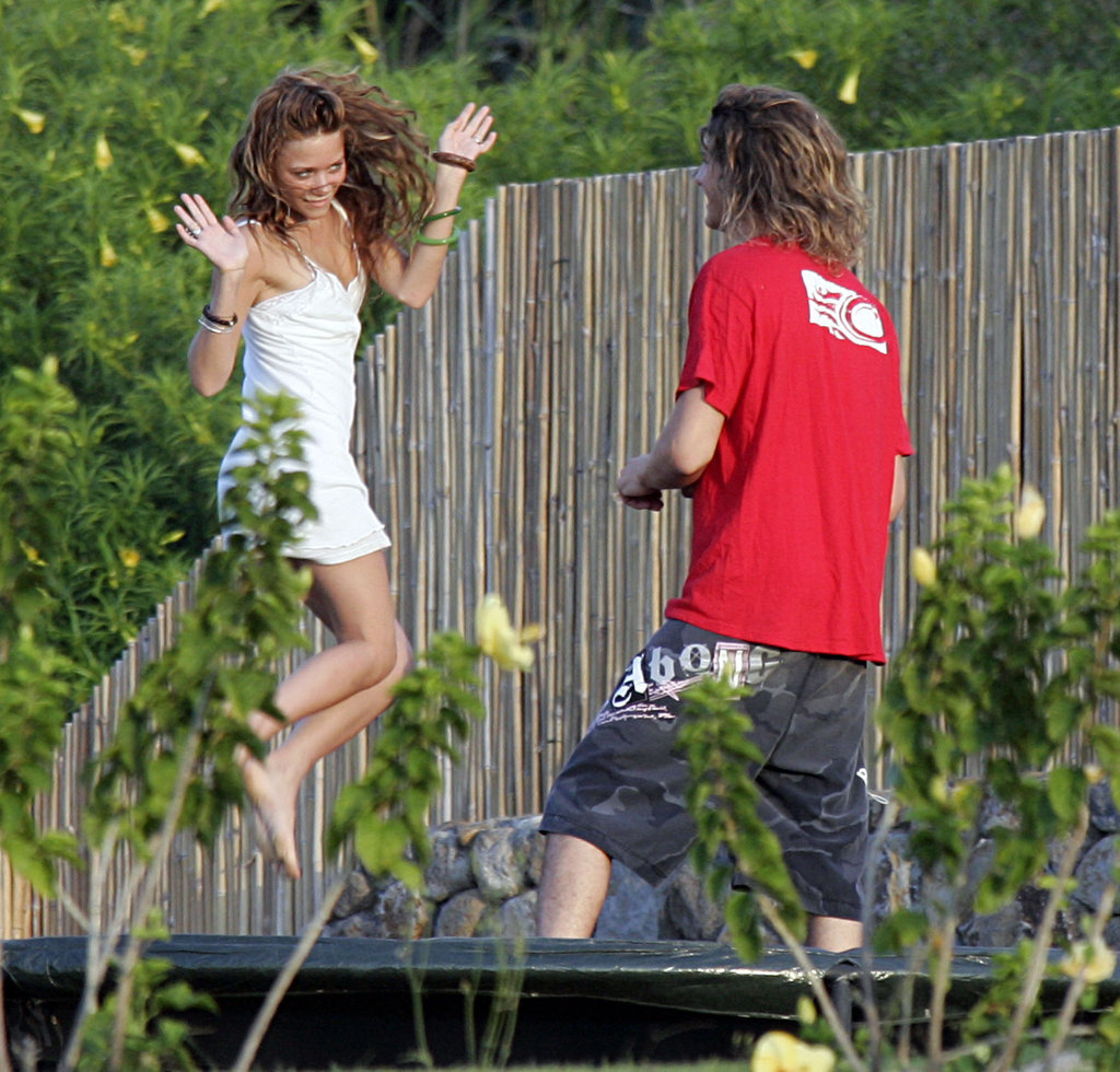 Mary-Kate Olsen let loose on a trampoline while vacationing in Hawaii with Stavros Niarchos in July 2005.