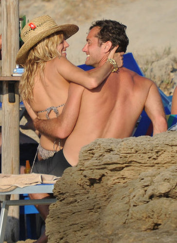 Jude Law and Sienna Miller were affectionate during an Italian getaway in July 2010.