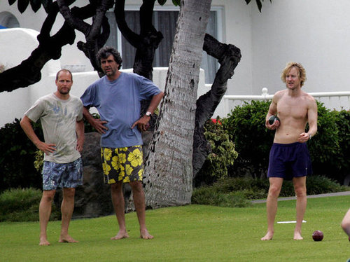 Woody Harrelson, Andrew Wilson, and Owen Wilson spent an afternoon playing bocce while vacationing in Hawaii in July 2005.