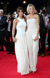 Cameron Diaz and Cheryl Cole posed together on the red carpet at the What to Expect When You're Expecting UK premiere.