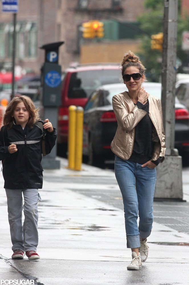Sarah Jessica Parker chatted with James Wilkie Broderick on their way to drop him off at school.