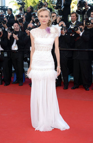 Diane Kruger was the picture of Spring elegance in a white feather-infused gown on the Killing Them Softly red carpet.