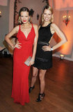 Petra Nemcova, in a fiery red dress, and Karolina Kurkova, in a back-revealing LBD, struck a pose at the IWC dinner.