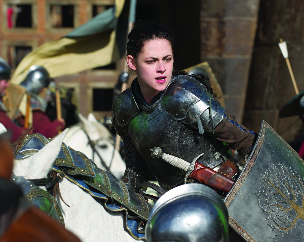 Snow White looks totally tough in her armour, and we love the tree symbol on her shield.  Photo courtesy of Universal Pictures