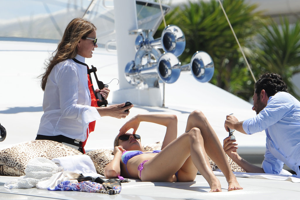 Karolina Kurkova took a break from Cannes on a yacht.