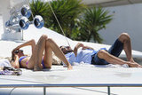Karolina Kurkova lounged on a yacht in her bikini.
