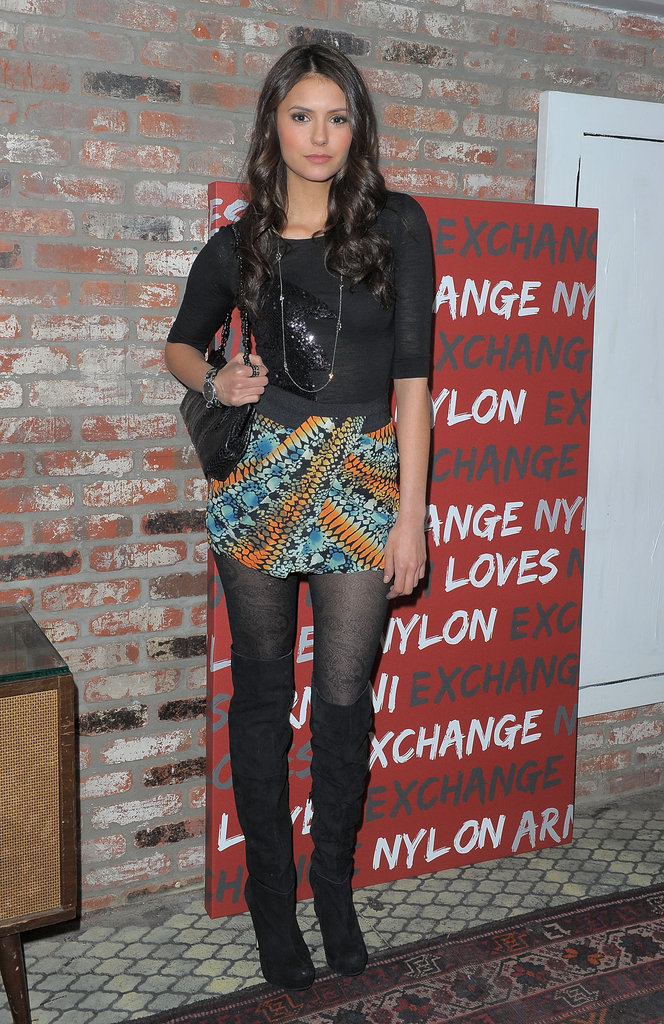To provide her darker ensemble with a burst of color, she donned a vibrant printed skirt at a Nylon party in 2010.