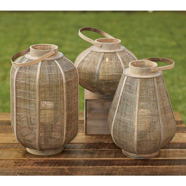 Layer a walkway with light with these Woven Jute Lanterns ($19 and up).
