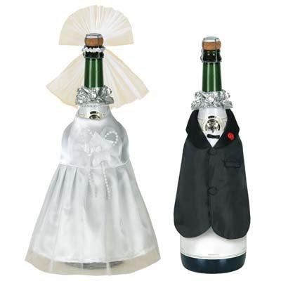 Bride & Groom Wine Bottle Covers