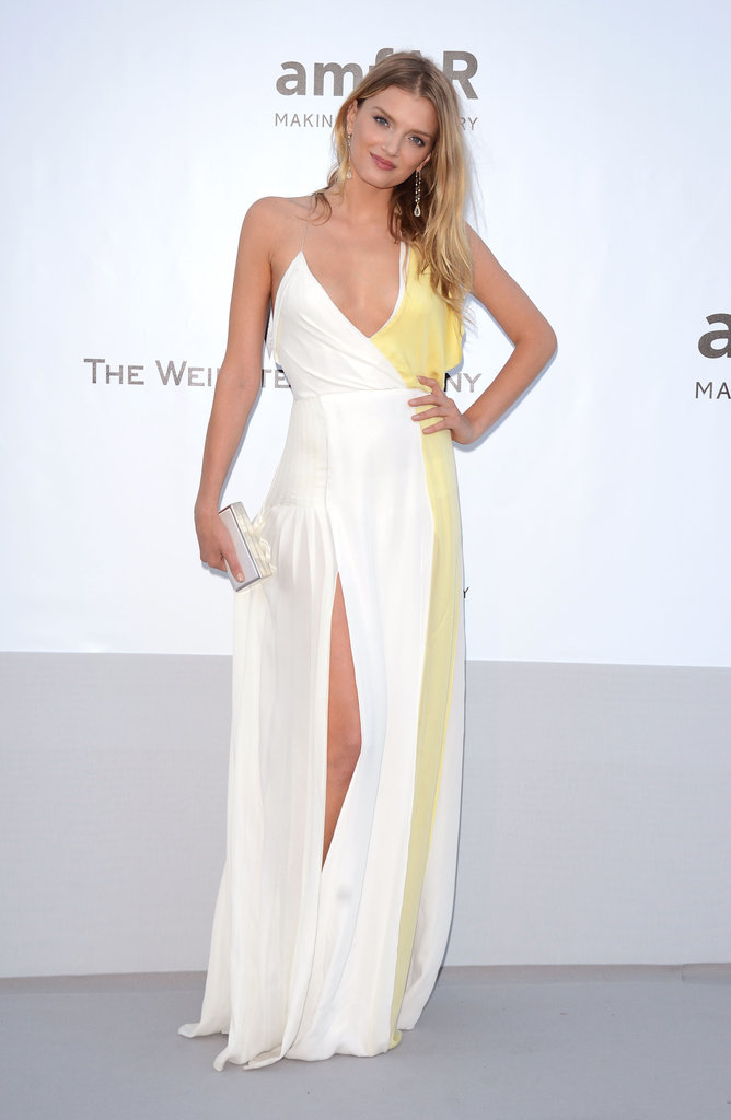 Lily Donaldson channeled a beach goddess vibe in this white-and-yellow gown — the thigh-high slit added an element of sultry sophistication.