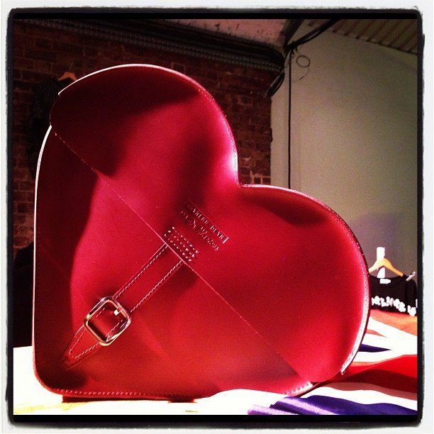 A close-up of the heart bag from the Agyness Deyn for Dr. Martens collection.