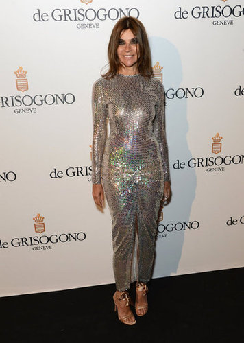 Carine Roitfeld played to the jumpsuit trend in a totally '70s-feeling silvery one-piece.
