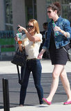 Lauren Conrad and a friend headed out of Starbucks in LA.