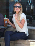 Lauren Conrad sipped on an iced drink from Starbucks in LA.