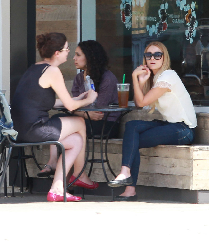 Lauren Conrad and a friend got drinks at Starbucks in LA.