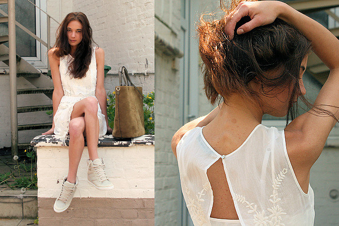 We love this sheer LWD and pumped-up sneaker combo — it's the perfect mix of a feminine and sporty sensibility.  Photo courtesy of Lookbook.nu