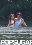 Katie Holmes and Suri Cruise took a dip in a pond in Kent, CT, while visiting in June.