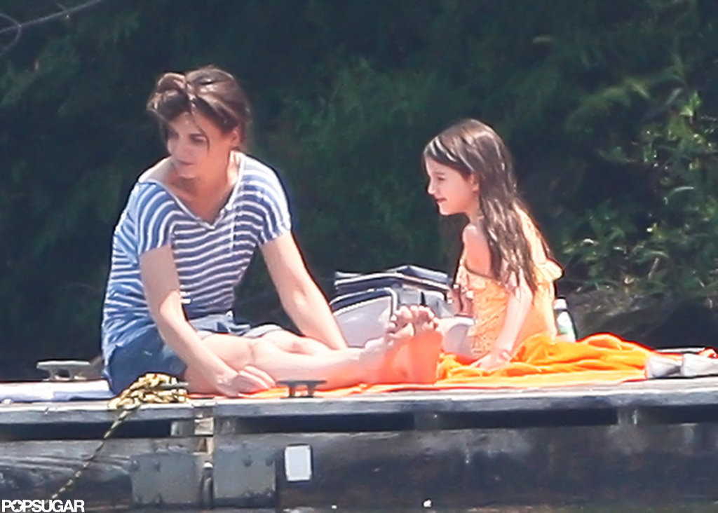 Katie Holmes took her daughter, Suri Cruise, to a pond for a swim while on a break from filming.