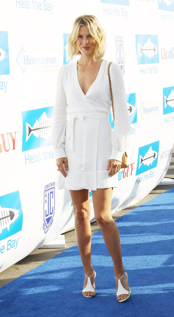 Ali Larter showed off her stems in a day-to-night white wrap dress.