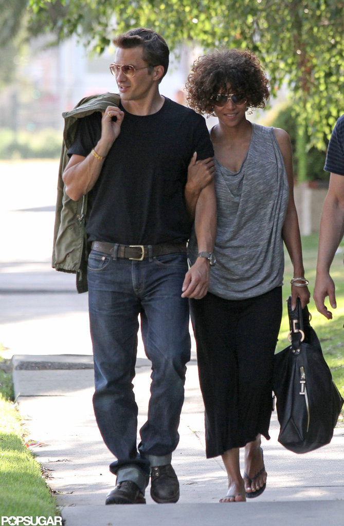 Halle Berry was all smiles as she walked with her man, Olivier Martinez.