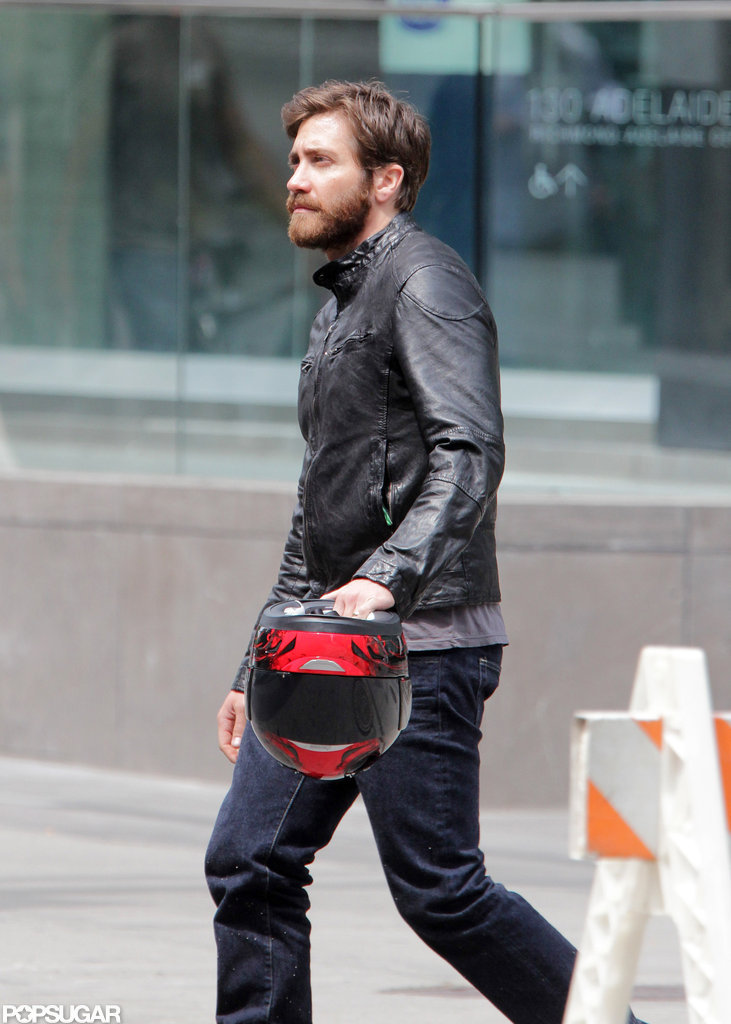 Jake Gyllenhaal arrived on set in Toronto carrying a helmet.