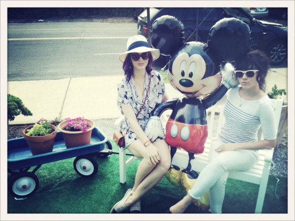 Katy Perry and a pal posed with an inflatable Mickey Mouse balloon.  Source: Twitter user katyperry