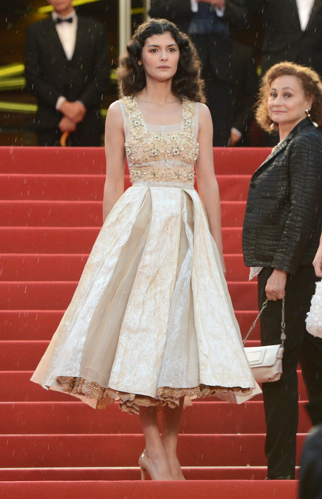 Audrey Tautou chose a nude-toned tea-length dress for the closing ceremony.