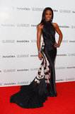 Kelly Rowland made a dramatic entrance in a silk Maria Grachvogel halter-style black and white gown.