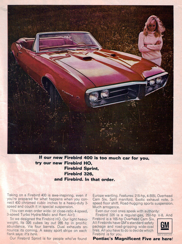 Pontiac even comes with an all-American gal, who is pretty covered up by today's standards.