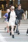 Stephen Moyer and his daughter, Lilac, picked Anna Paquin up at LAX.
