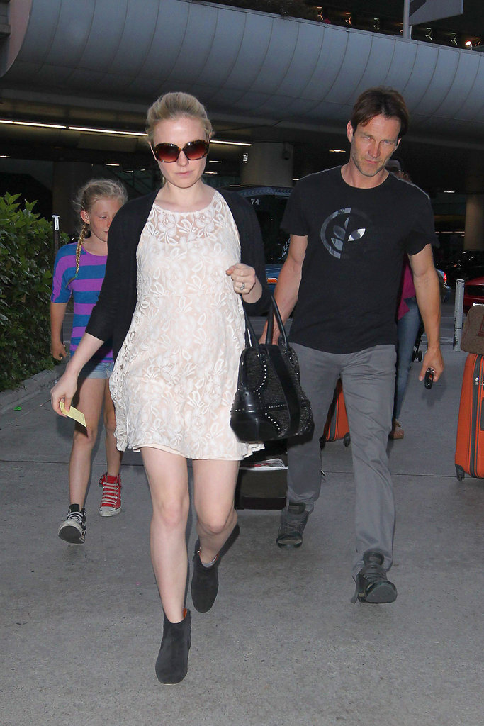 Anna Paquin, Stephen Moyer, and Lilac Moyer were spotted at the airport.