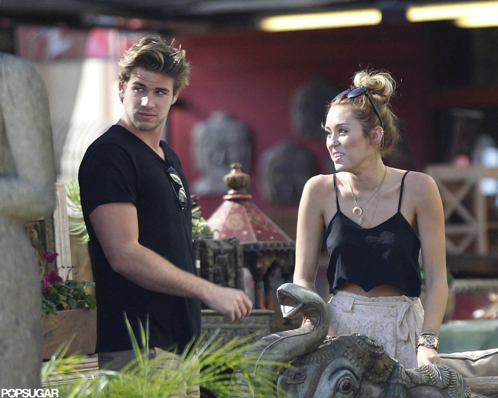 Liam Hemsworth and Miley Cyrus went shopping in LA.