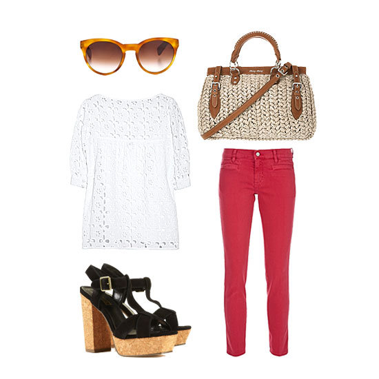 Give your red denim a girlier vibe with a seasonally fresh eyelet blouse and a woven satchel in hand. A pair of cat-eye shades and sky-high platforms give this a polished finish — perfect for hitting the Hamptons and beyond. Get the look:   MIH Paris Cropped Mid-Rise Skinny Jeans ($185) Milly Eyelet Cotton Top ($235) Oliver Peoples Eyewear Alivia Sunglasses ($295) Topshop Loon Sandals ($116) Miu Miu Leather Trimmed Raffia Tote ($837, originally $1,395)